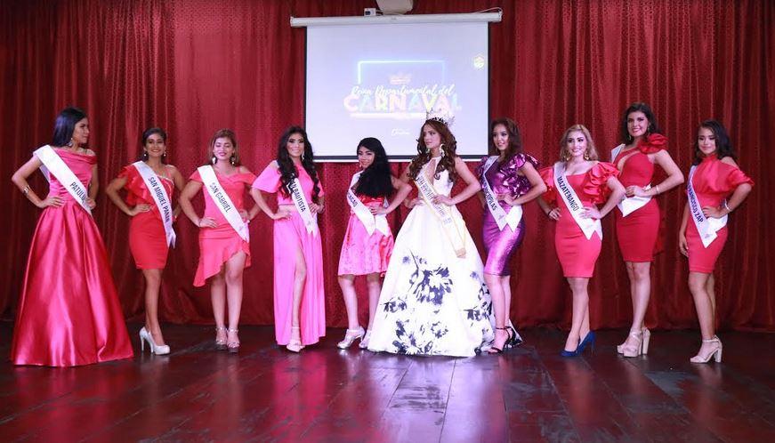 Ellas son las nueve candidatas que aspiran a la corona del Carnaval Mazateco 2020. (Foto: Cristian Soto)