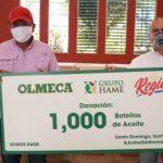 Marvin Pérez alcalde de Santo Domingo juntó a Victor Hugo Lemus de Hame quien entrega la donación