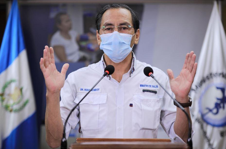 El Ministro de Salud, Hugo Monroy, explica las estadísticas actualizadas del COVID-19 en Guatemala, hasta este martes 12 de mayo. (Foto: SCSP)