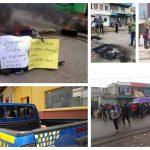 La protesta ocurrió la tarde de este sábado en San Francisco El Alto, Totonicapán. Los manifestantes quemaron llantas y lanzaron piedras contra una autopatrulla. (Foto: Cortesía de Herlindo García)