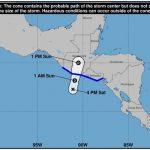 El Centro Nacional de Huracanes informó que el Sistema de Baja Presión se fortaleció y se convertió en la Depresión Tropical 2-E, y se interna en territorio nacional. (Foto: CONRED)