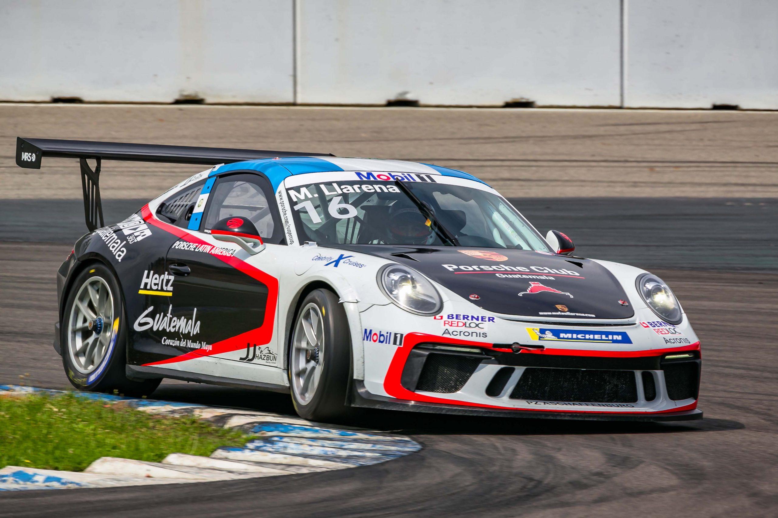 Este es el Porsche 911 GT3 Cup 991.2 de última generación con 485 caballos de potencia que conduce el piloto guatemalteco Mateo Llarena. (Foto: Cortesía)