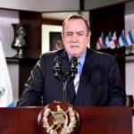 El presidente Alejandro Giammattei durante su mensaje en cadena nacional durante la noche del domingo 23 de agosto. (Foto: SCSP)