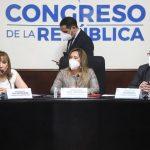 La presidenta interina de la Corte suprema de Justicia -CSJ-, Silvia Patricia Valdés, durante la reunión con los diputados del Congreso de la República. (Foto: Congreso de la República)