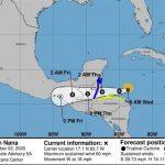 La tormenta tropical Nana se desplaza sobre el norte de Guatemala hacia el sur de México, con fuertes vientos y lluvias. (Foto: EFE)