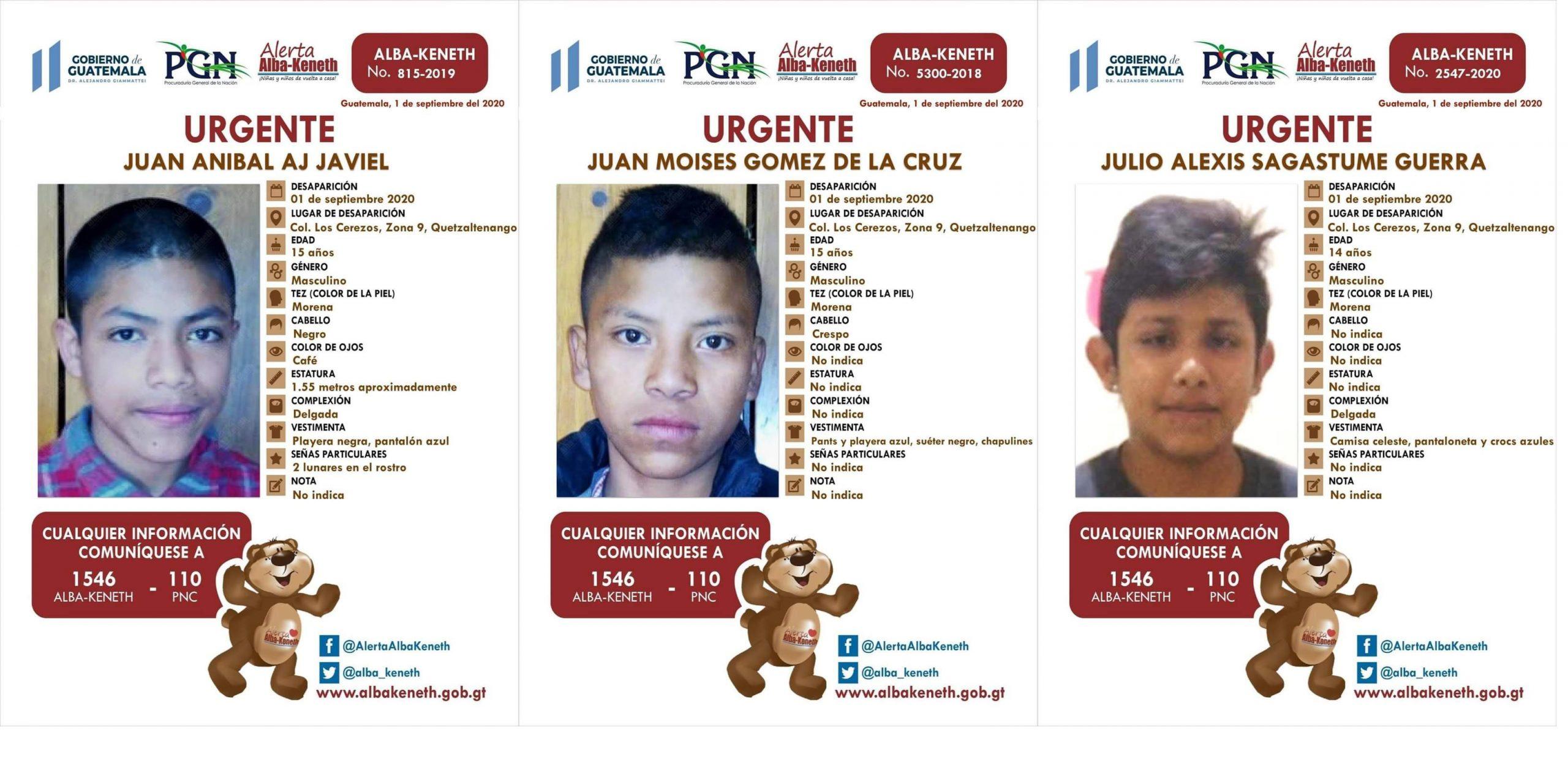 Autoridades han activado tres alertas Alba-Keneth debido a que se fugaron la madrugada de este martes 1 de septiembre, tres adolescentes de la casa hogar Luna de Xelajú; ubicado en la zona 9 de Xela.