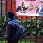Este lunes aparecieron mantas colgadas en Quetzaltenango, en contra del Presidente Alejandro Giammattei y contra el diputado Duay Martínez, exigiendo su renuncia por actos de corrupción en el Segundo Registro de la Propiedad. (Foto: Carlos Ventura)