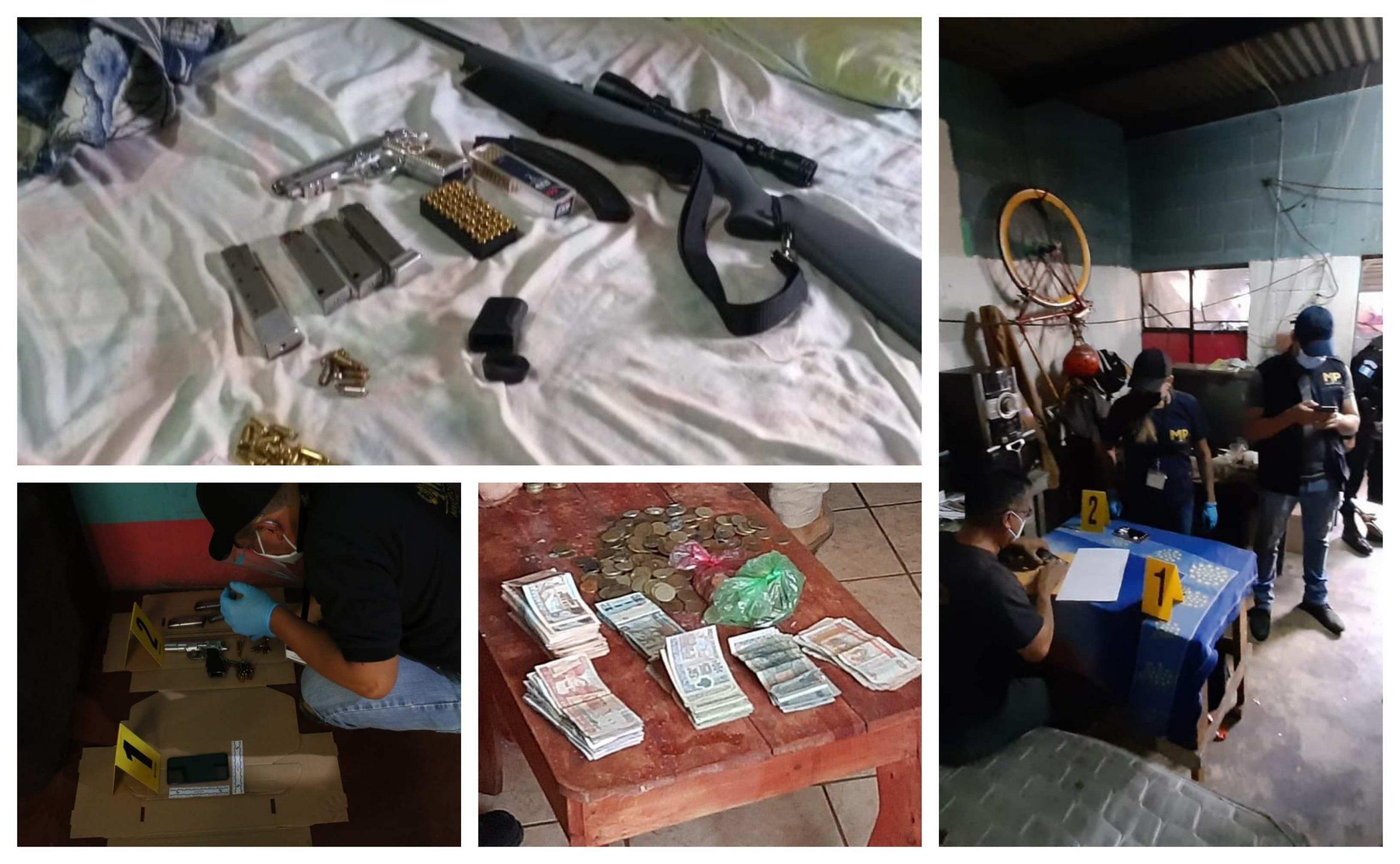 Autoridades del Ministerio Público con apoyo de la Policía Nacional Civil, lograron la captura de 25 personas que conformaban la banda de sicarios. Entre los detenidos hay ocho agentes de la PNC. (Foto: MP)