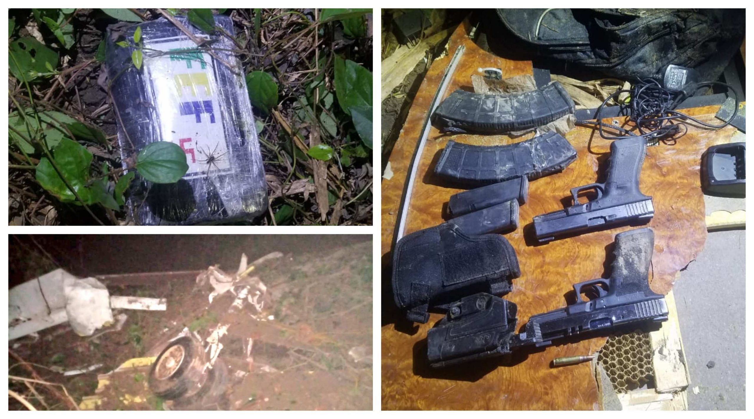 Una aeronave tipo jet que transportaba se accidentó en Alta Verapaz. Las autoriades localizaron a dos personas fallecidas, paquetes de droga dispersos, armas y municiones. (Foto: Eduardo Sam)