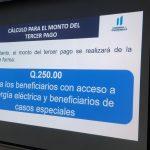 La tercera entrega del Bono Familia será de Q250 y los beneficiarios comenzarán a recibirlo a partir de este jueves. (Foto: Twitter)