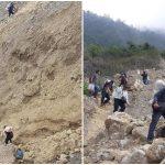 Un grupo de voluntarios, integrado por vecinos de la aldea La Cumbre de Pamuc, trasladó apoyo a pobladores de la zona cero. Esta se ubica en Quejá, San Cristóbal Verapaz. (Foto: Eduardo Sam)