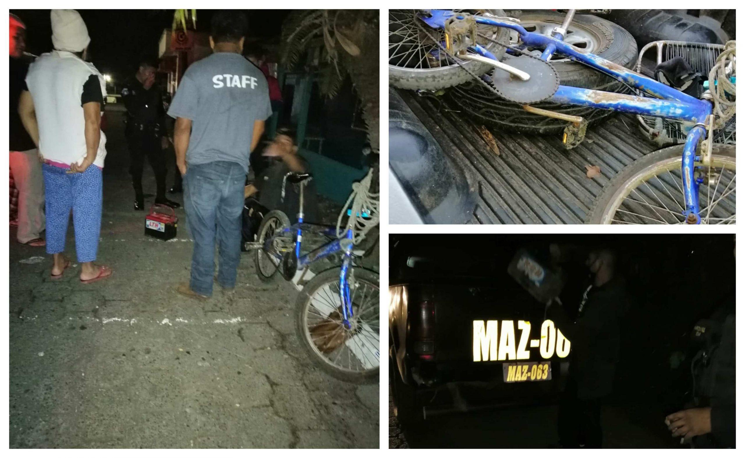 Vecinos de la Colonia el Compromiso de la zona 3 de Mazatenango,lograron detener a un hombre acusado del robo de baterías de vehículos. (Foto: Cristian Soto)