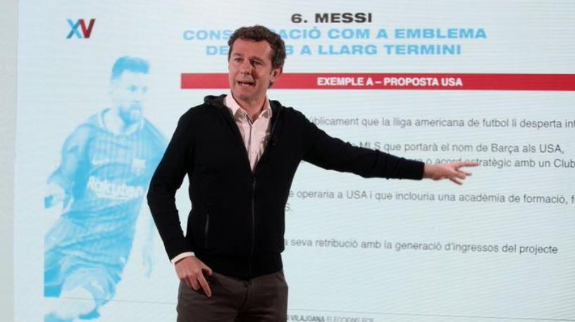 Uno de los precandidatos a la presidencia del FC Barcelona, buscará crear un equipo en la MLS de Estados Unidos, con Lionel Messi a la cabeza.