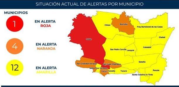 COVID-19: Corrigen tablero de alertas en Alta Verapaz