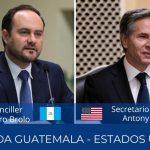 El canciller de Guatemala Pedro Brolo, sostuvo un diálogo con el secretario de Estado de Estados Unidos, Antony Blinken; en la reunión abordaron la migración irregular y la elección de cortes imparciales en el país.