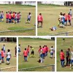 Un futbolista agredió a un árbitro durante un partido de la Tercera Divisióndel futbol guatemalteco y quedó grabado en video.