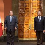 El presidente Alejandro Giammattei, llegó al Palacio Nacional mexicano para reunirse con el mandatario Andrés Manuel López Obrador; en la reunión se abordarán los temas de la cooperación bilateral y la migración.