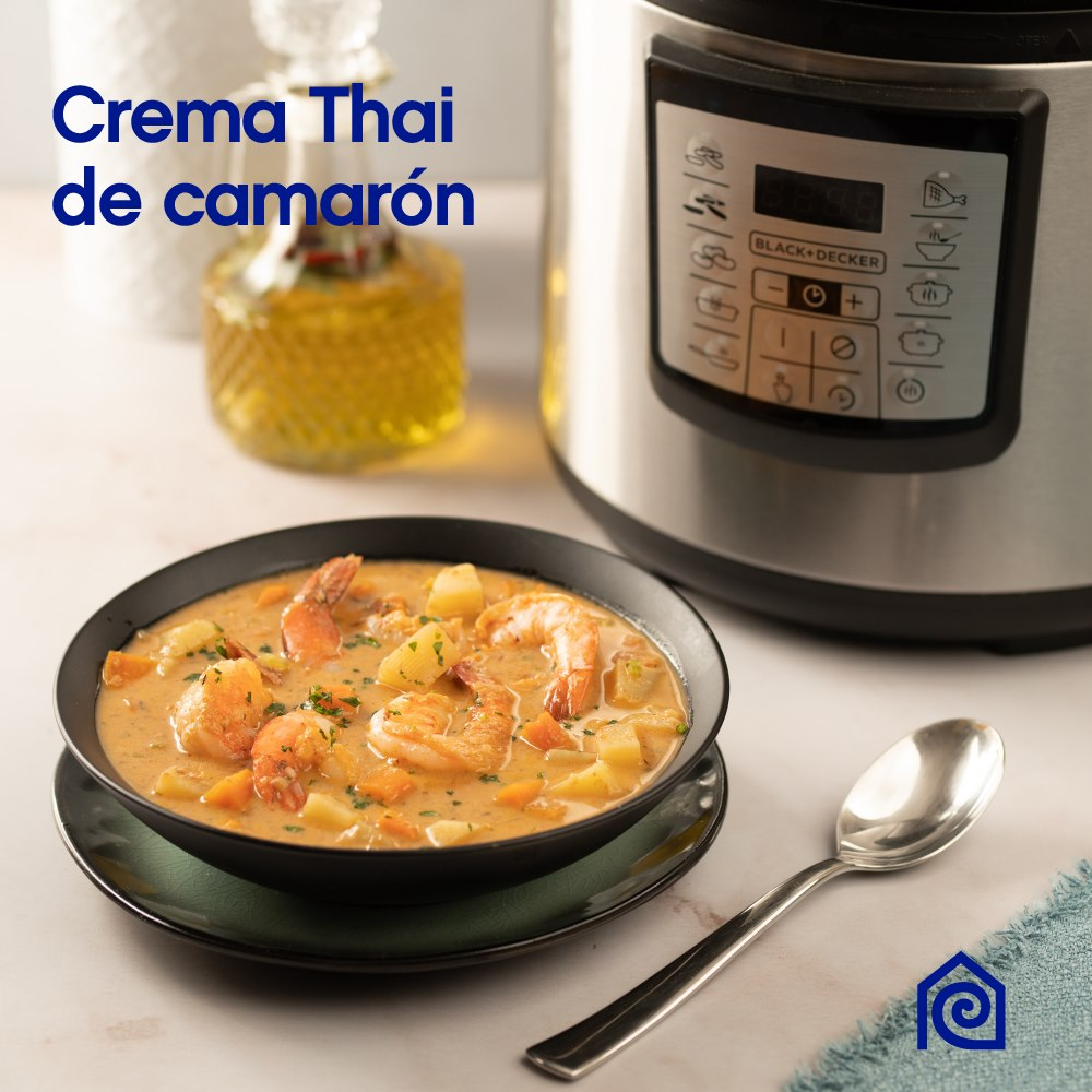 Ingredientes crema Thai de camarón