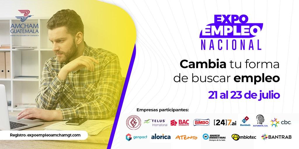 La Cámara de Comercio Guatemalteco Americana -AmCham Guatemala- realiza la tercera edición de la Expo Empleo Nacional. Además, se debe mencionar que esta se llevará a cabo de forma virtual.